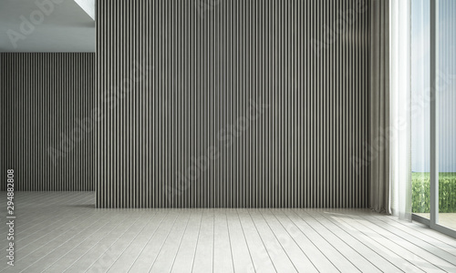 Leinwanddruck Bild - teeraphan : Modern loft white empty living room and wood texture wall panel background