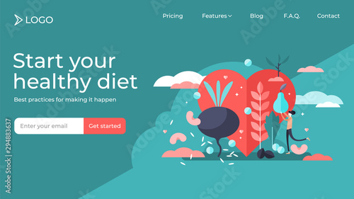 Healthy diet tiny persons vector illustration landing page template design. - 294883637