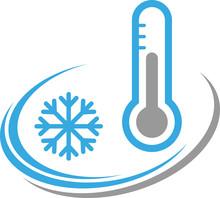 Thermometer Und Schneeflocke, Temperatur, Klima, Logo