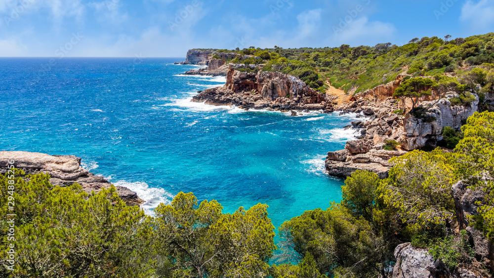 Fototapety, obrazy: Panorama of beautiful beach and bay with turquoise sea water, Cala des Moro, Santanyi, Mallorca island, Spain