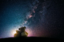 Couple Love Teddy Bear (non Branded) Hugging On Starry Night Sky, Love Concept