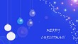 Christmas card.Christmas balls and snowflakes on a blue background.