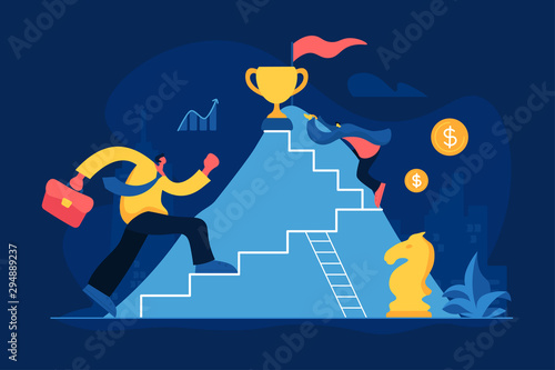 Obraz Business competition flat vector illustration. Career ladder, job promotion, corporate competition, success achievement concept. Office workers, businessmen climbing mountain cartoon characters - fototapety do salonu