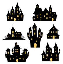 Halloween Spooky Castles And Houses Vector Set