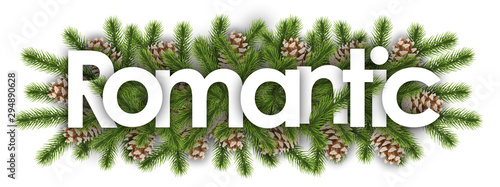 romantic in christmas background - pine branchs