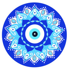 Mandala Greek Evil Eye Vector - Symbol Of Protection - Blue Turkish
