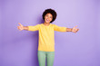 Leinwanddruck Bild - Photo of wavy curly trendy pretty sweet charming millennial inviting you to embrace her smiling toothily wearing green pants trousers isolated over purple pastel color background