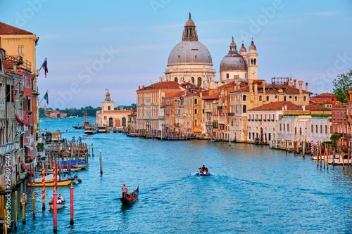 Aluminium Prints Venice Panorama of Venice Grand Canal and Santa Maria della Salute church on sunset