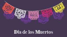 Day Of Dead Vector. Papel Picado For Dia De Los Muertos On Purple Background Illustration. Mexican Bunting Banners Traditional Decoration.
