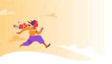 The School Is Over. A Happy School Boy Running Towards His Dreams. Vector Illustration