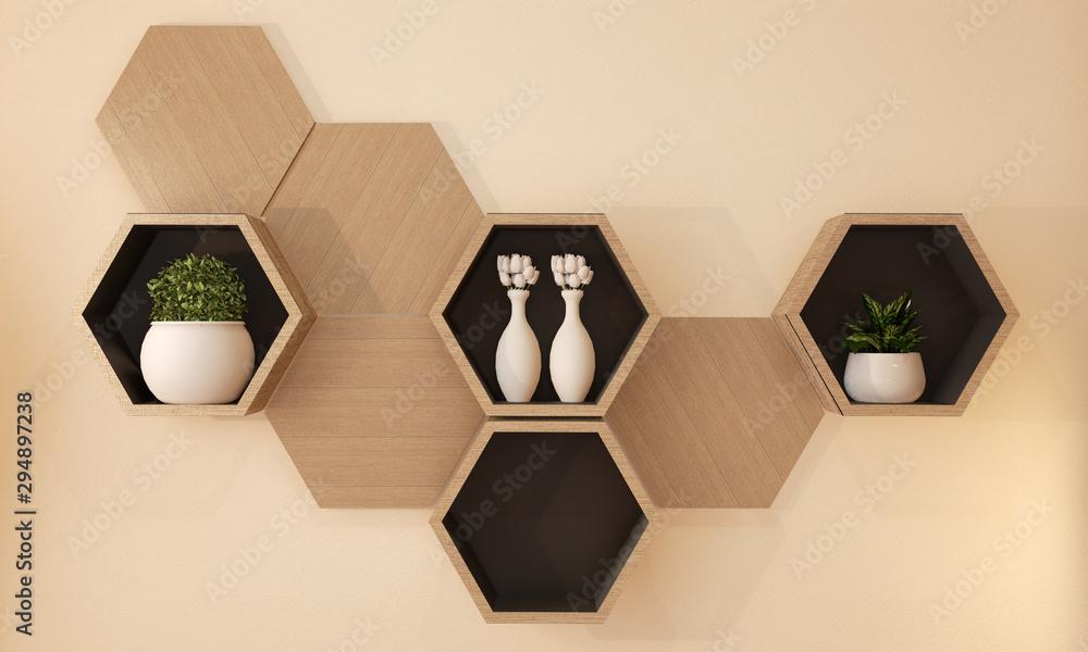 Fototapety, obrazy: Hexagon wooden shelf japanese design on wall.3D rendering