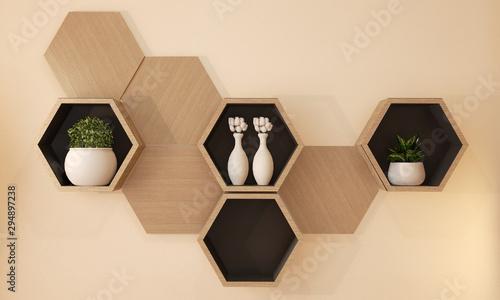 Pinturas sobre lienzo  Hexagon wooden shelf japanese design on wall.3D rendering