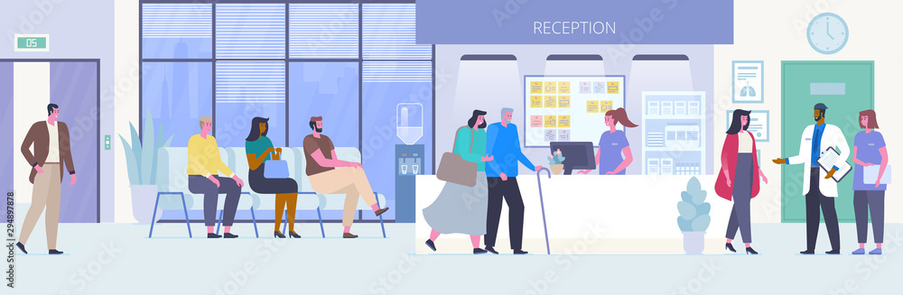 Fototapeta People in hospital hall flat vector illustration