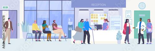 Fototapeta  People in hospital hall flat vector illustration