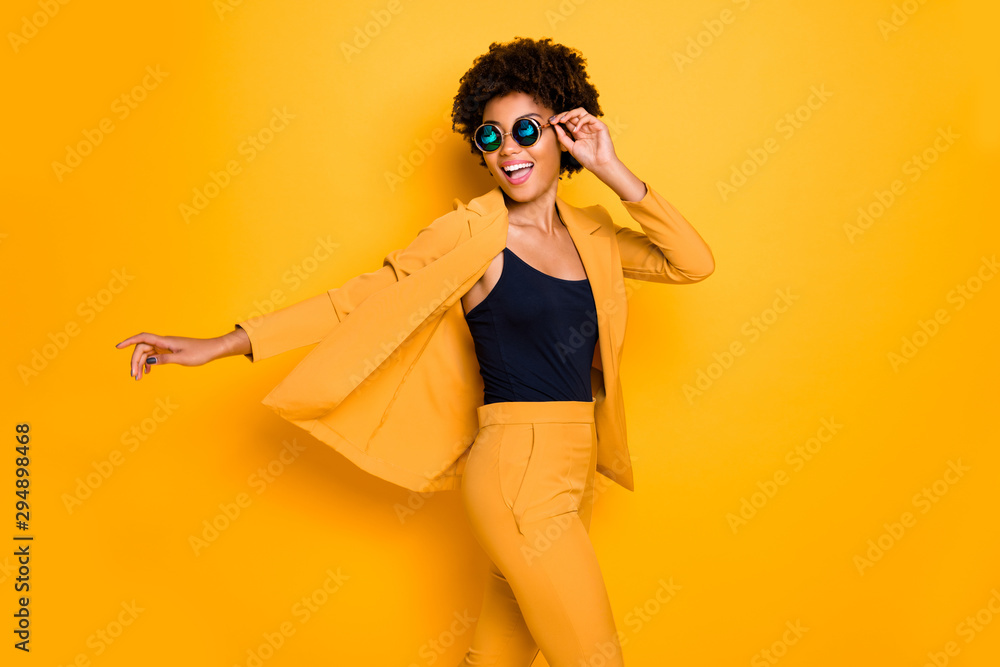 Fototapety, obrazy: Profile side photo of positive cheerful afro american girl have rest relax look enjoy fall holidays wear fashionable vogue suit isolated over yellow color background