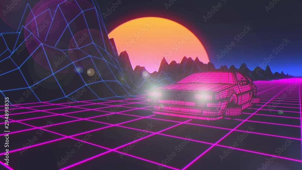 Fototapety, obrazy: Cyberpunk car in 80s style moves on a virtual neon landscape. 3d rendering