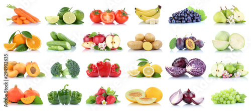 Fruits vegetables collection isolated apple apples oranges cabbage tomatoes bana Fotobehang