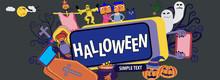 Happy Halloween Banner With Cartoon Characters Dead Men And Moon For Website