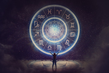 Woman raising hands looking at the night sky. Astrological wheel projection, choose a zodiac sign. Trust horoscope future predictions, consulting stars. Power of universe, astrology esoteric concept.
