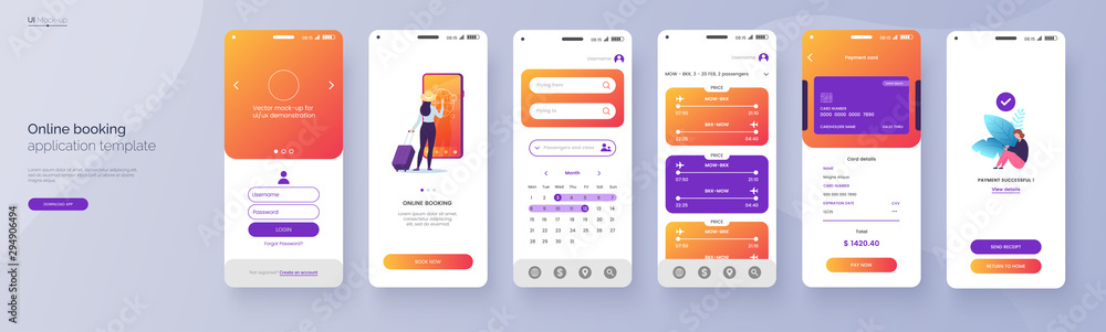 Fototapeta Online booking service mobile application template. UI, UX, GUI design elements. Travel application wireframe. User Interface kit isolated on grey background. Vector eps 10.