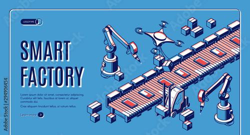 Smart factory isometric web banner Tablou Canvas