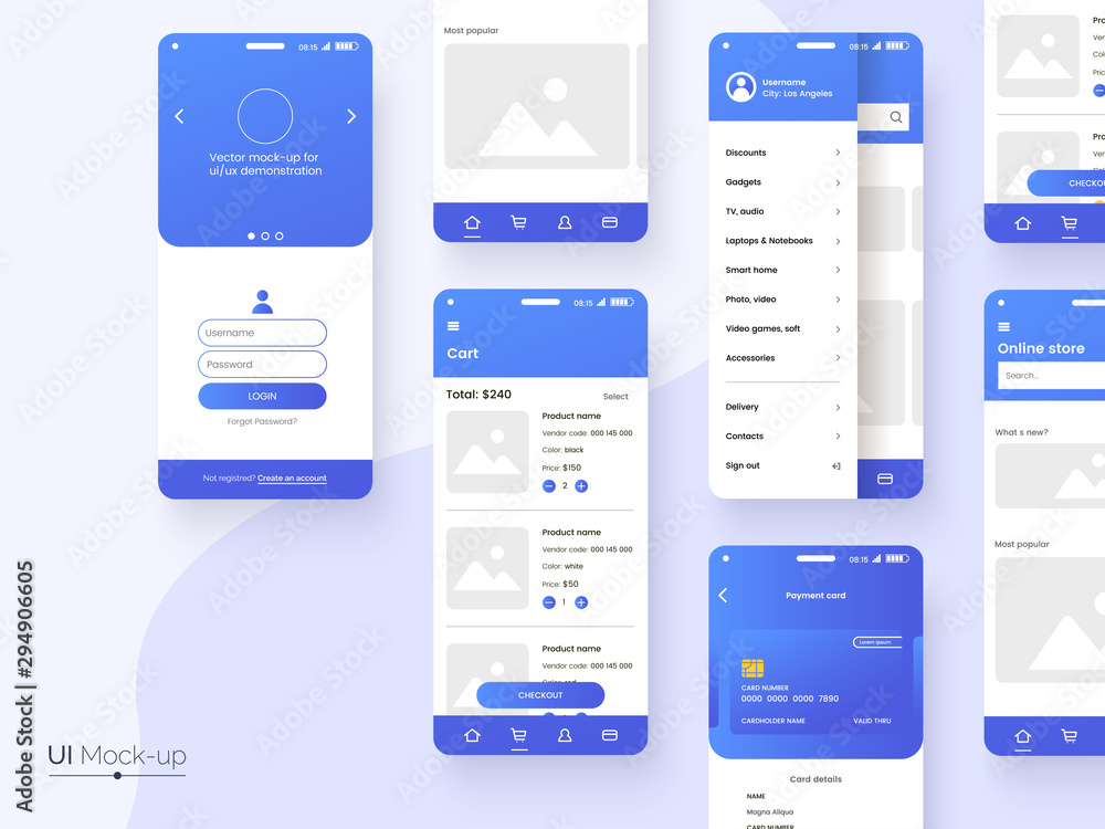 Fototapeta User interface design template in blue colors. Conceptual mobile phone screen mock-up for application interface presentation. UI, UX, GUI kit isolated on grey background. Vector eps 10.