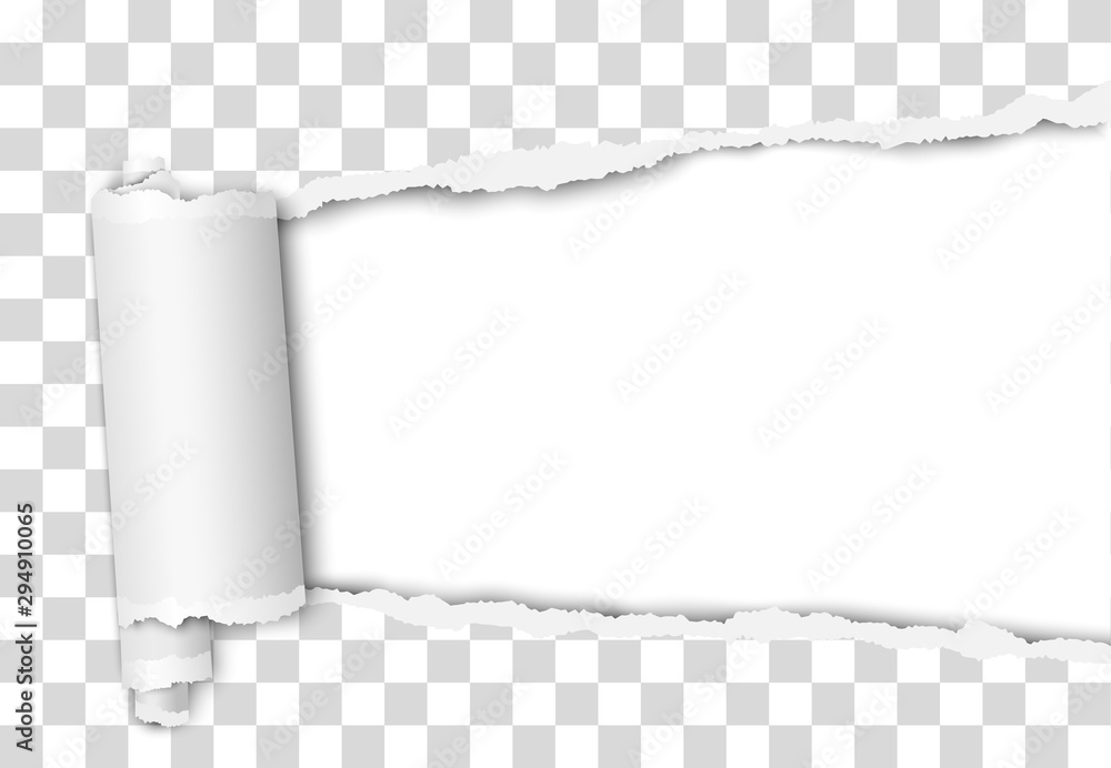 Fototapety, obrazy: Torn elongated hole from right to left side in transparent sheet of paper with wrapped paper tear and white background. Vector template design. Paper mockup.
