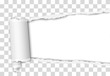 Torn elongated hole from right to left side in transparent sheet of paper with wrapped paper tear and white background. Vector template design. Paper mockup.