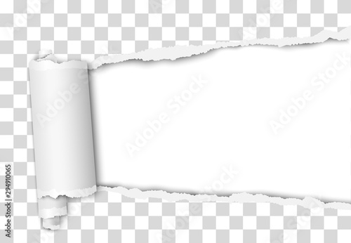 Obraz Torn elongated hole from right to left side in transparent sheet of paper with wrapped paper tear and white background. Vector template design. Paper mockup. - fototapety do salonu