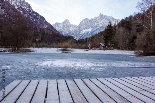 Photo  lake with green forest and snowy mountains in the background and skyfall effect