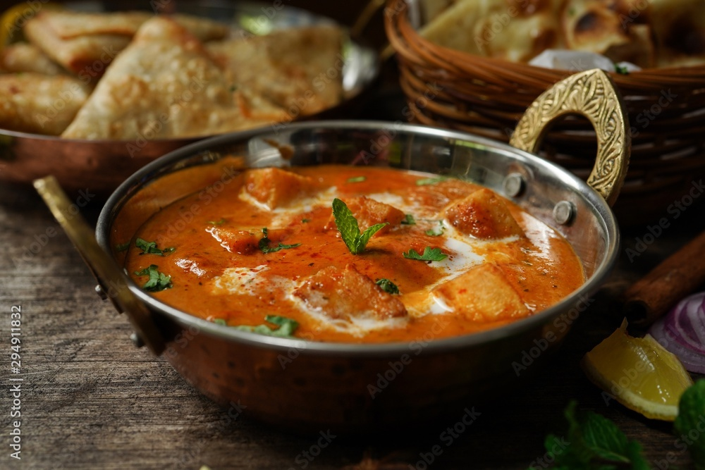 Fototapety, obrazy: Paneer Butter Masala with Rot i- Diwali special Indian vegetarian meal
