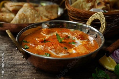 Fotografie, Obraz Paneer Butter Masala with Rot i- Diwali special Indian vegetarian meal