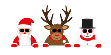 Cute Reindeer Santa Claus And Snowman Cartoon With Sunglasses For Christmas Vector Illustration EPS10