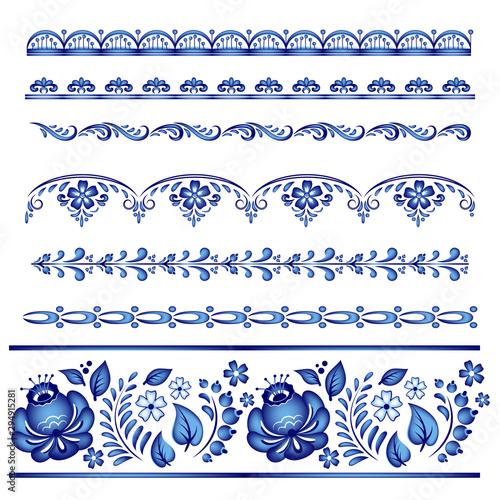 Fényképezés  Painted floral borders