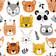 Seamless pattern with cute animals head