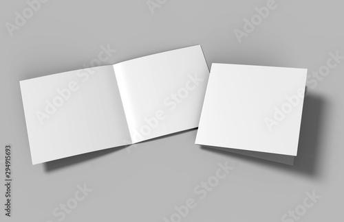 Obraz Half-fold brochure blank white template for mock up and presentation design. 3d illustration. - fototapety do salonu