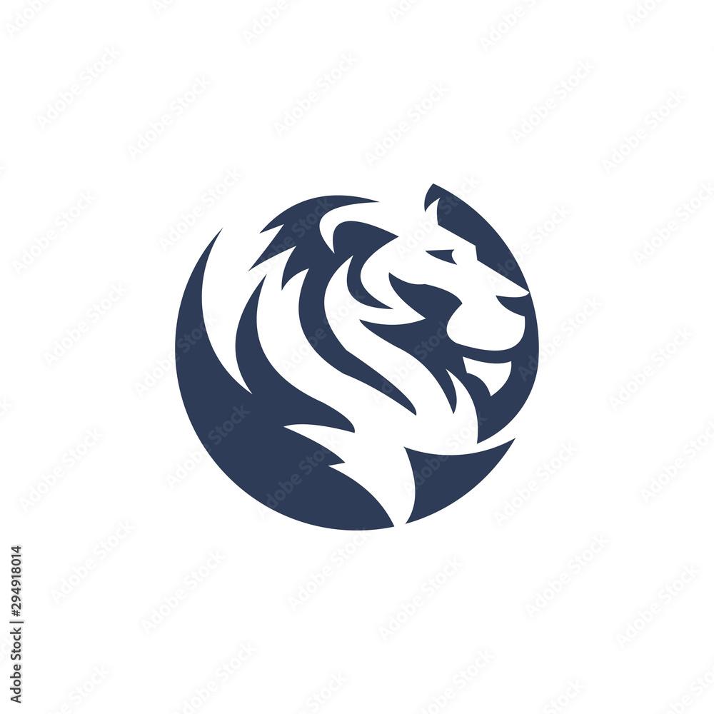 unique lion illustration logo template
