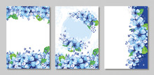 Set Of Cards With Hydrangea Flower Leaves