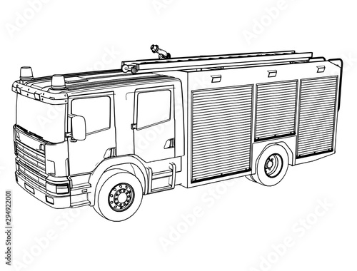 Fotomural sketch of a fire engine vector on a white background