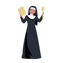 Nun Holds A Book Of Recipes For Lean Dishes. Sister Of Mercy. Religious Fasting In Food. Vector Illustration