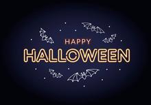 Vector Neon Happy Halloween Ho...