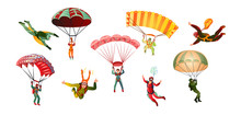 Colorful Set Of Skydivers. Vector Illustration In Flat Cartoon Style