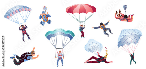 Valokuva Colorful set of skydivers