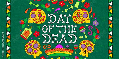 Foto auf AluDibond Auf der Straße Day of the dead mexican skull decoration banner