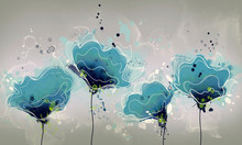 Drawing Of Abstract Blue Watercolor Flowers