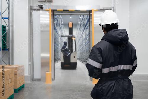 Staff worker control in freezing room or warehouse Fototapeta
