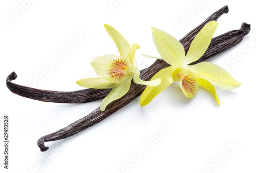Fototapeta Dried vanilla pods and orchid vanilla flower on white background. obraz