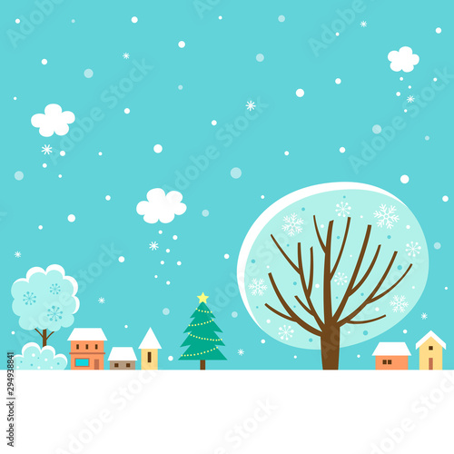 Poster Turquoise Winter village landscape with winter tree