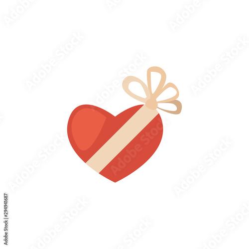Fototapeta gift box in heart shaped with ribbon on white background obraz