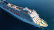 canvas print picture - Aerial top view photo of huge cruise liner with pools and outdoor facilities cruising the Atlantic blue ocean